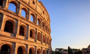 Rome, Italy - Amphitheater Colosseum view at evening